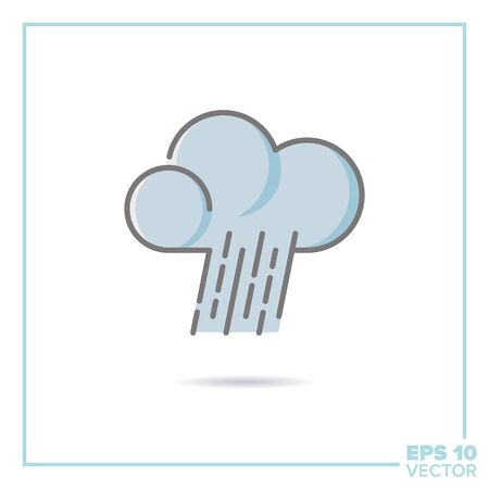 hard rain: cloud and hard rain filled line icon vector illustration