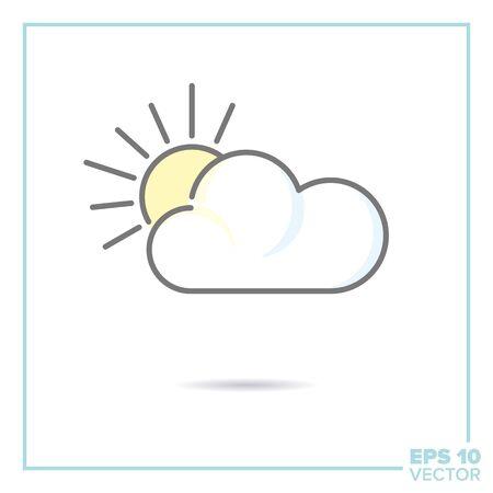partially cloudy - sun behind cloud filled line icon vector illustration Ilustração