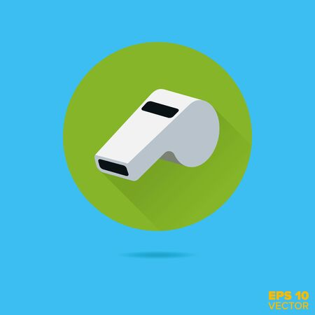 referees whistle flat design vector icon