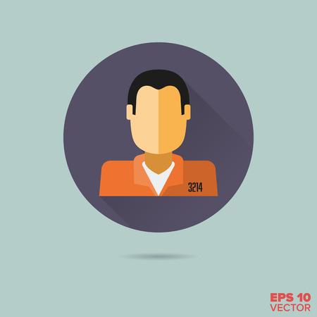 prisoner faceless head flat design vector icon Illustration