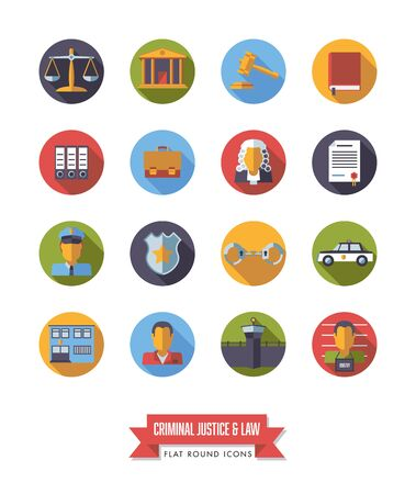 scale of justice: Collection of circular law and criminal justice icons. Flat design long shadow round symbols.