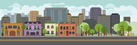 公園で景観のベクトル イラスト。メイン ・ ストリートで、木とフラットなデザイン住宅。