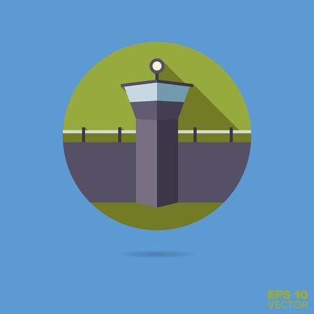 watchtower of prison flat design vector icon