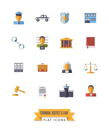 Collection of isolated law and criminal justice icons. Flat design symbols set. Ilustração