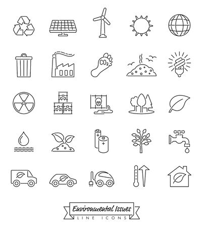 Collection of Environment and Climate related vector outlined icons