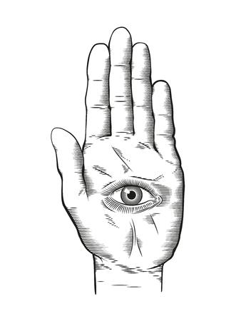 손 기호에 신비한 Hamsa 모두 보는 눈의 벡터 일러스트 레이 션. 빈티지 새겨진 된 스타일 그리기입니다.