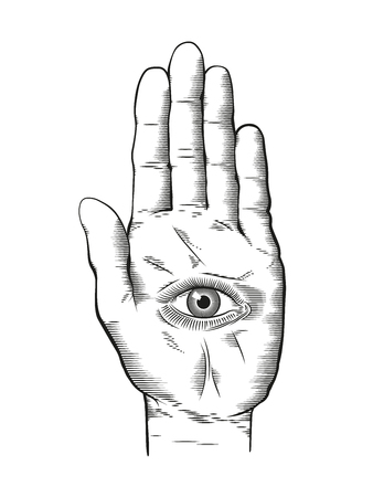 Vector illustration of mystic Hamsa all-seeing eye in hand symbol. Vintage engraved style drawing.
