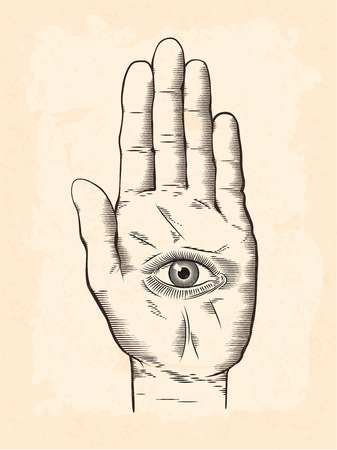 Vector illustration of mystic Hamsa all-seeing eye in hand symbol. Vintage engraved style drawing with grunge texture overlay.