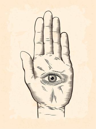 Vectorillustratie van mysticus Hamsa alziend oog in hand symbool. Vintage gegraveerde stijptekening met grunge textuur overlay. Stock Illustratie