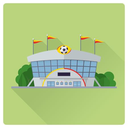 flat design long shadow soccer stadium building vector illustration