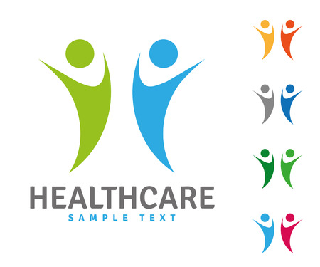 Company logo template with two healthy people jumping