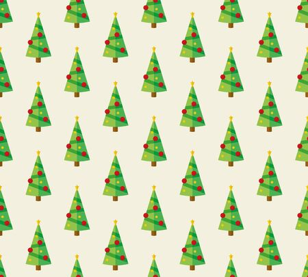 Seamless pattern with flat design christmas tree repetition