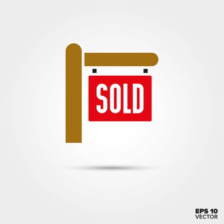 real estate sold: Sold sign for real estate vector icon