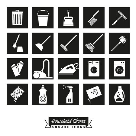 Collection of 20 Household Chores square black Icons