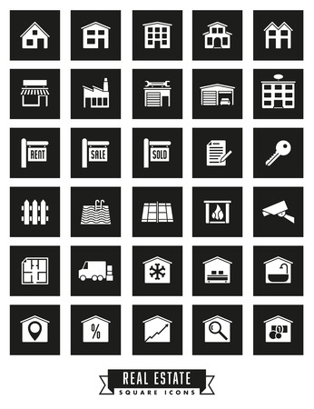 real tennis: Collection of real estate square black icons on white background