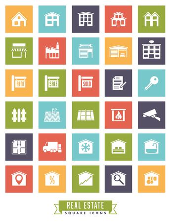 real estate sold: Collection of real estate square color icons on white background Illustration