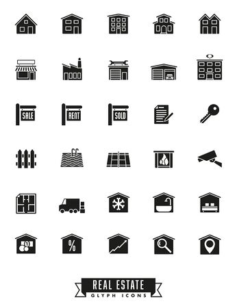 real estate sold: Collection of real estate glyph icons on white background