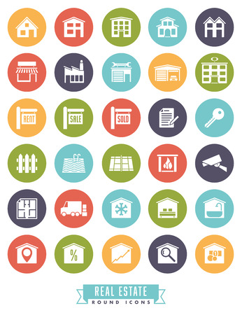 real estate sold: Collection of real estate round color icons on white background
