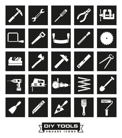 Verzameling van DIY en crafting tool vector iconen in zwarte vierkanten