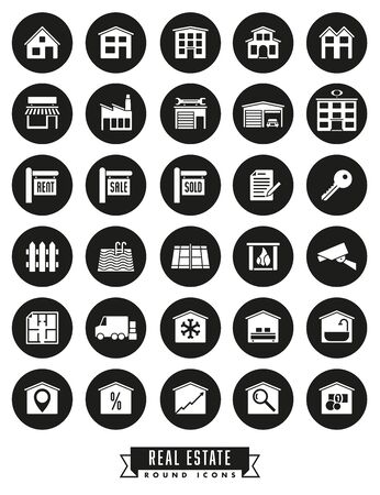 real estate sold: Collection of real estate round black icons on white background Illustration