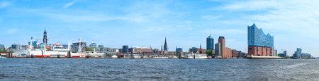 Panorama of Hamburg harbor from museum ship Cap San Diego to HafenCity qaurter with Elbphilharmonie concert hall