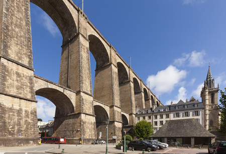 The viaduct at Morlaix, Brittany, France 版權商用圖片