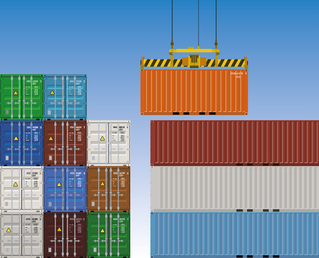Crane lifting cargo container Illustration
