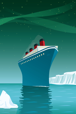 Vintage style vector illustration of giant cruise ship with icebergs on arctic ocean under northern lights.