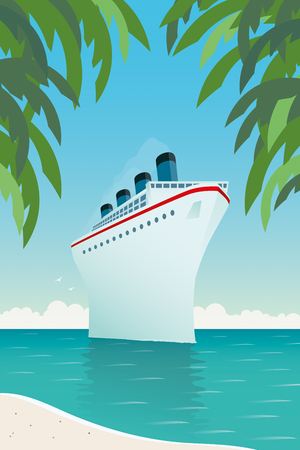 Vintage style vector illustration of giant cruise ship near tropical island.