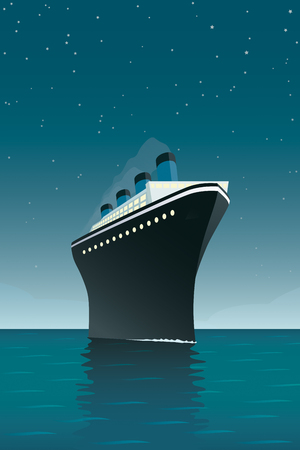 Vintage style vector illustration of giant cruise ship on the ocean at night.