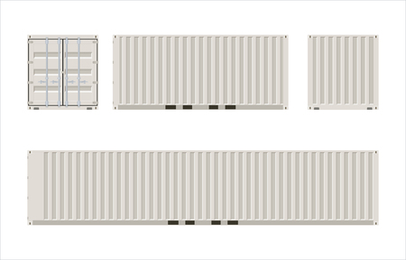 Views of twenty and forty foot cargo containers Illustration