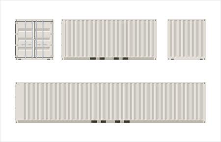 Ansichten von 20 und 40 Fuß Frachtcontainern Vektorgrafik