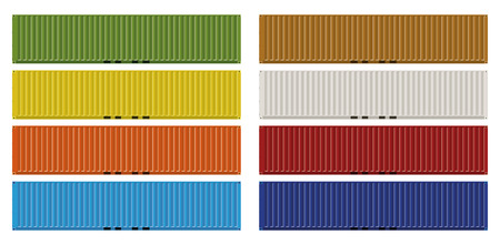 Forty feet cargo containers in eight colors Çizim
