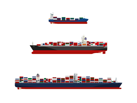 Cargo container vessels in three sizes. Feeder ship, panamax class and ultra-large container ship vector illustration.
