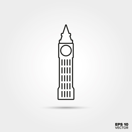 Symbol of Great Britain. Line icon of the Big Ben.