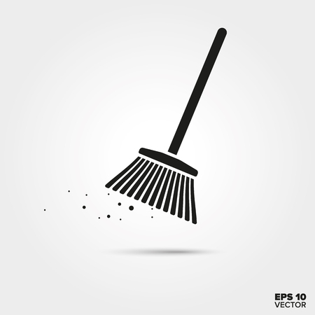 Broom vector icon. Cleaning and housework symbol.