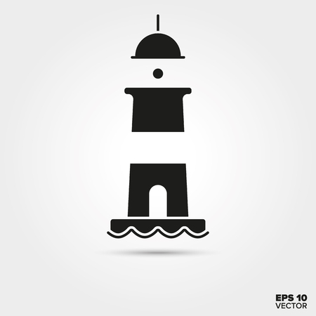 Lighthouse vector icon. Maritime navigation ymbol.  Illustration