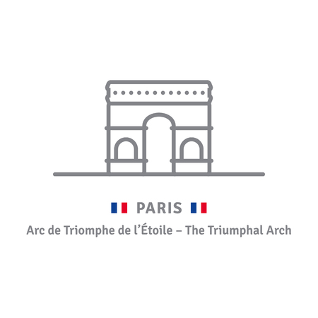 Paris line icon. Triumphal Arch and French flag vector illustration.