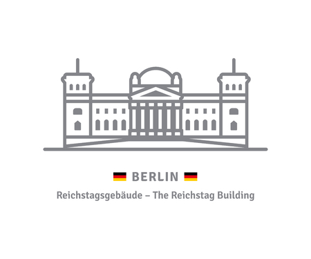 Berlin line icon. Reichstag Building and german flag vector illustration.