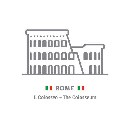 Rome line icon. Colosseum and Italian flag vector illustration.