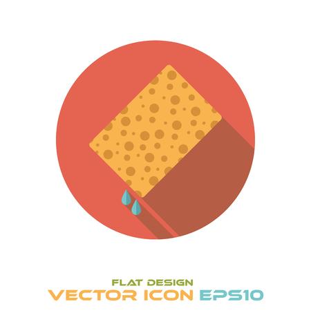 wet sponge round flat design long shadow icon vector Иллюстрация
