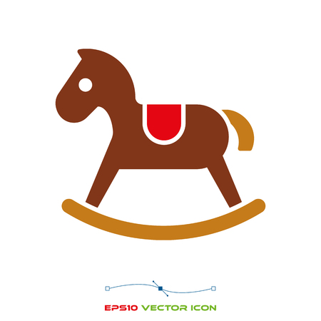 rocking horse flat color icon vector