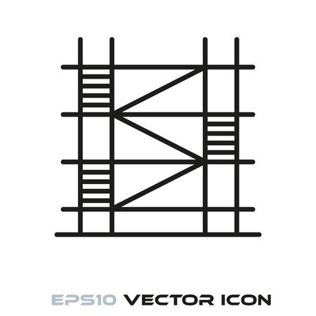Construction scaffolding flat line icon vector