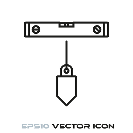 Spirit level and plumb bob flat line icon vector