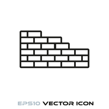 Brick wall under construction flat line icon vector