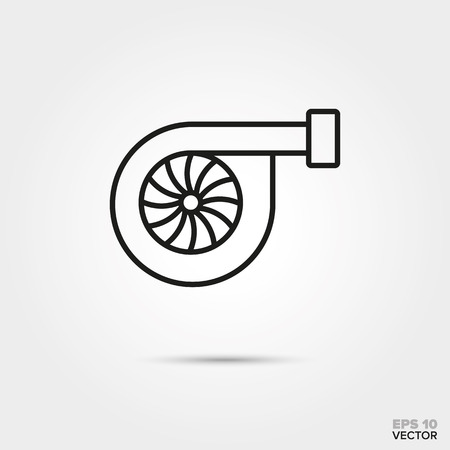 Turbocharger vector line icon. Automotive parts, repair and service symbol.