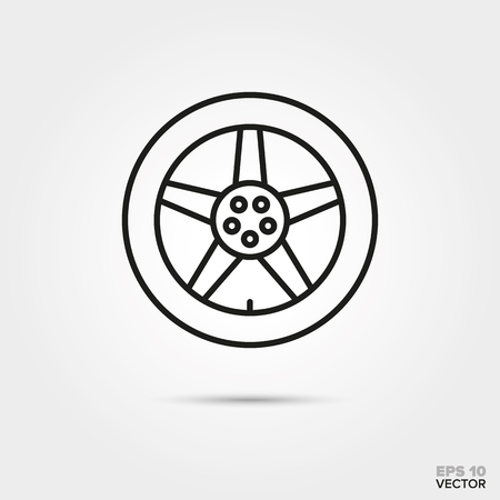 alloy car wheel with tires vector icon. Automotive parts, repair and service symbol.