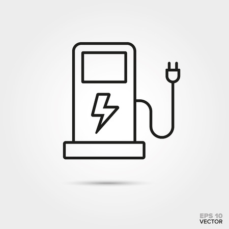 Electric car charging station vector line icon. Automotive parts, repair and service symbol.