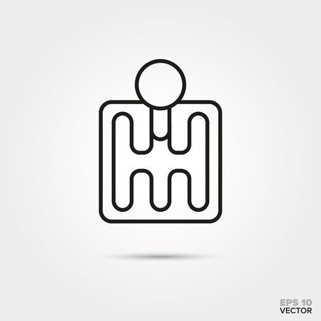 Manual shifting vector line icon. Automotive parts, repair and service symbol. Stock Illustratie