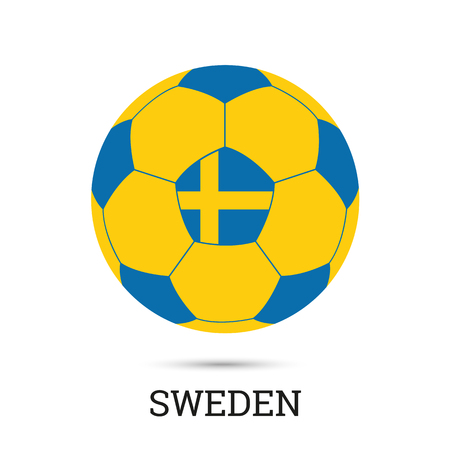 Soccer ball with Swedish national colors and emblem vector illustration